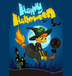halloween witch flying on her broom vector image vector image