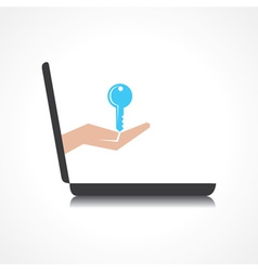 hand holding key comes from laptop screen vector image