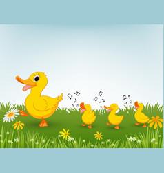 Happy duck cartoon vector