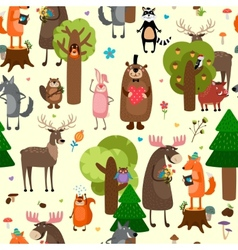 Happy forest animals seamless pattern background vector image