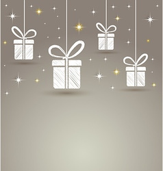 holidays paper gift box with star lights vector image