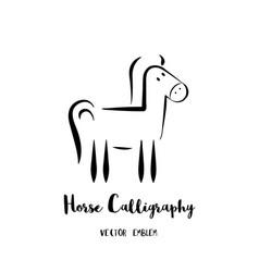 Horse calligraphy emblem vector