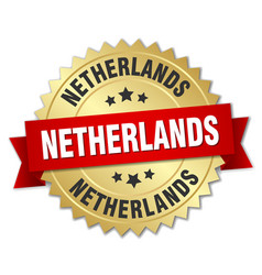 Netherlands round golden badge with red ribbon vector