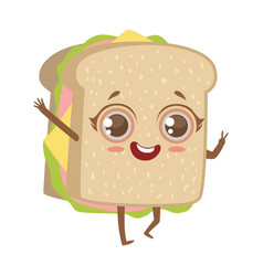 Sandwich cute anime humanized cartoon food vector