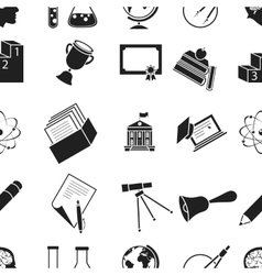 School pattern icons in black style big vector