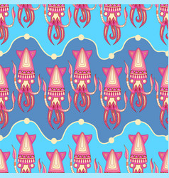 seamless pattern with squid vector image