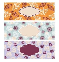 set of cute floral banners vector image vector image