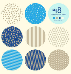 Set of round geometric seamless patterns vector