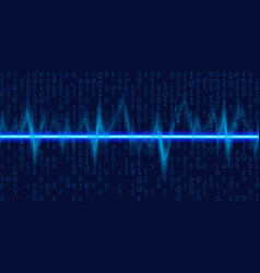 sound waves oscillating glow with binary code vector image vector image