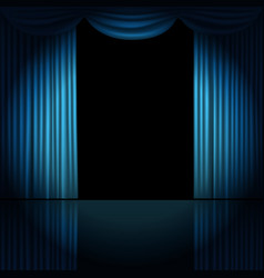 Stage curtains with spotlight vector