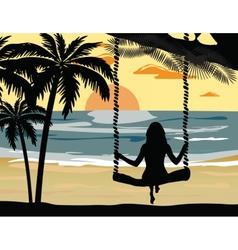 Summer sunset beach vector