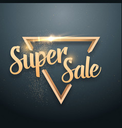 Super sale lettering gold glitter effect vector