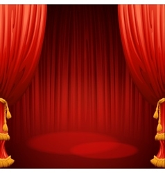 Theater stage with red curtain vector image