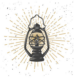 vintage kerosene lamp with light lines vector image