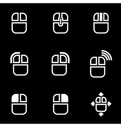 white computer mouse icon set vector image vector image