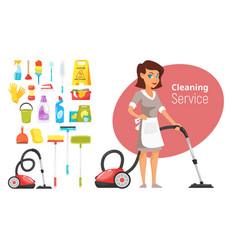 Woman household character vacuuming vector