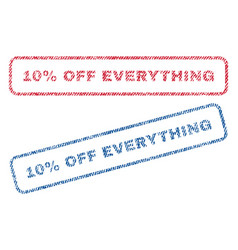 10 percent off everything textile stamps vector image
