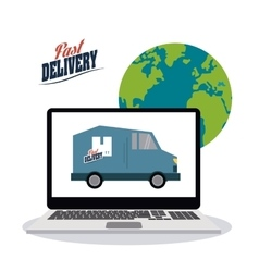 Truck inside laptop icon fast delivery design vector