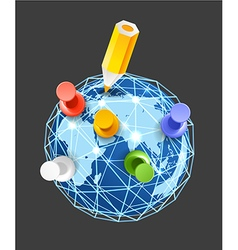 Color pins on the Earth vector image