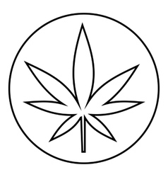 Round tablet marijuana icon outline style vector image