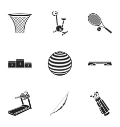 Sport and fitness set icons in black style big vector