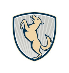 Prancing dog side shield vector