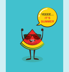 It is summer time funny watermelon character vector