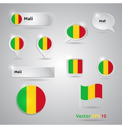 Mali icon set of flags vector
