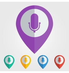 Flat pin with microphone icon vector