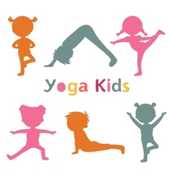 Cute yoga kids silhouettes vector