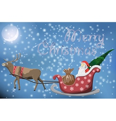 Merry christmas post card with flying santa claus vector