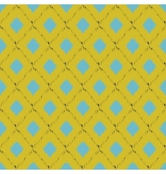 Seamless ikat pattern in yellow and blue colors vector
