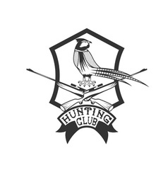 Hunting club crest with carbines and pheasant vector