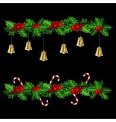 Green christmas garlands of holly vector