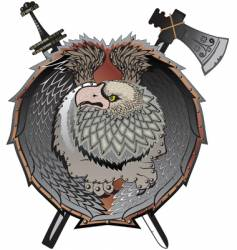 Shield with griffins mystical creature vector