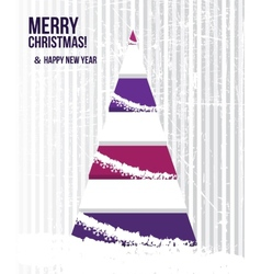 Abstract christmas card with a tree in purple vector