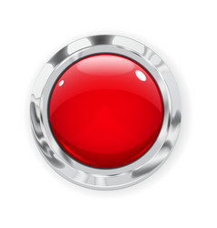 Big red glass button vector image