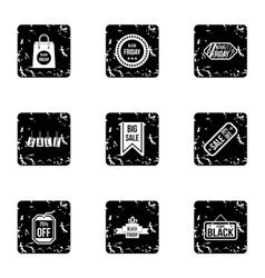 Big sale icons set grunge style vector