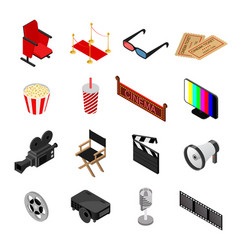 Cinema color icons set isometric view vector
