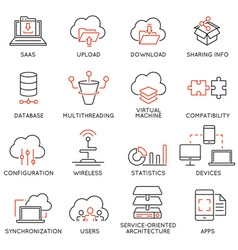 Cloud computing service icons - 2 vector