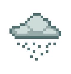 cloud rain pixel art cartoon retro game style vector image vector image