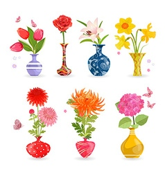 colorful collection of modern vases with lovely vector image