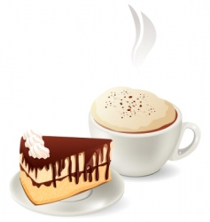 cup of hot coffee with cake vector image vector image