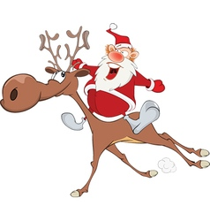 Cute Santa Claus Christmas Deer vector image