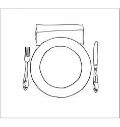 Digital knife fork and plate isolated vector image