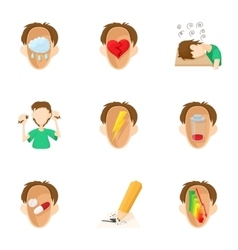 Emotions types icons set cartoon style vector