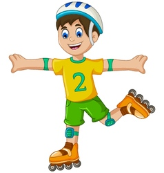 Funny boy cartoon plying roller skates vector