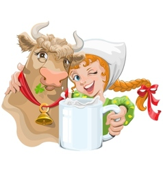 Girl hugging a cow and a farmer holding a cup of vector