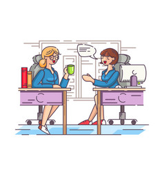 girls office workers communicate in workplace vector image vector image