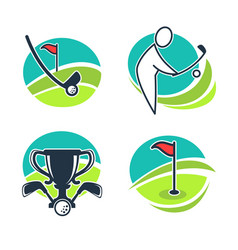Golf labels collection with equipments and prizes vector